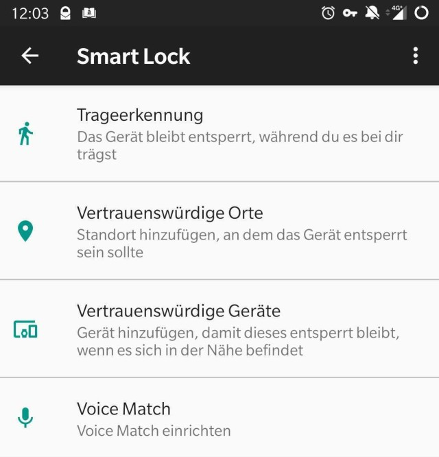 Smart-Lock-Optionen in Android