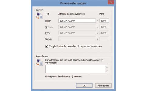 Internet Explorer II: Tragen Sie hier die IP-Adresse und den Port des Proxy-Servers ein.