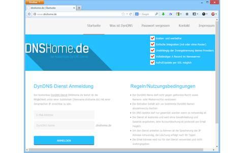DNSHome.de ist ein kostenloser und werbefreier DynDNS-Dienst ohne Gewährleistung und Garantie. Der Benutzer erhält eine Subdmain unter dnshome.de und einen vollständigen A-Record im Nameserver.