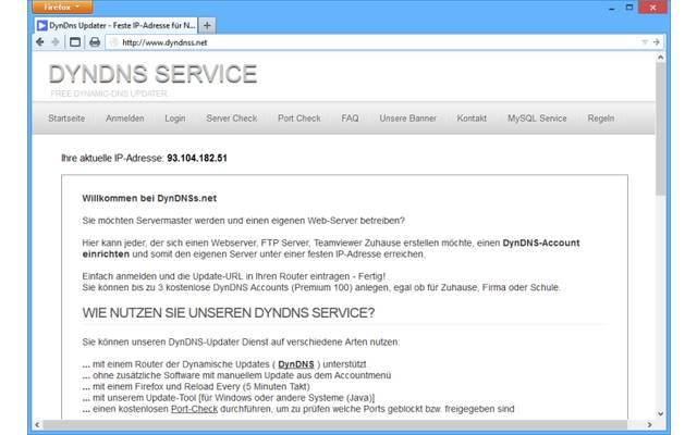 """DynDNS Service: Der deutschsprachige Dienst DynDNS Service unterstützt bis zu drei kostenlose Subdomains. Es steht der Domainname """".dyndnss.net"""" zur Verfügung."""