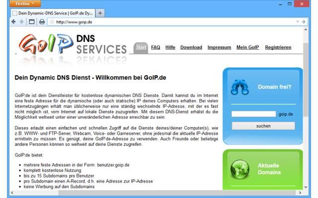 """GoIP: Der deutschsprachige Dienst GoIP ermöglicht das Anlegen von bis zu 15 Subdomains pro Nutzer. Dafür steht Ihnen die Domain """".goip.de"""" zur Verfügung."""