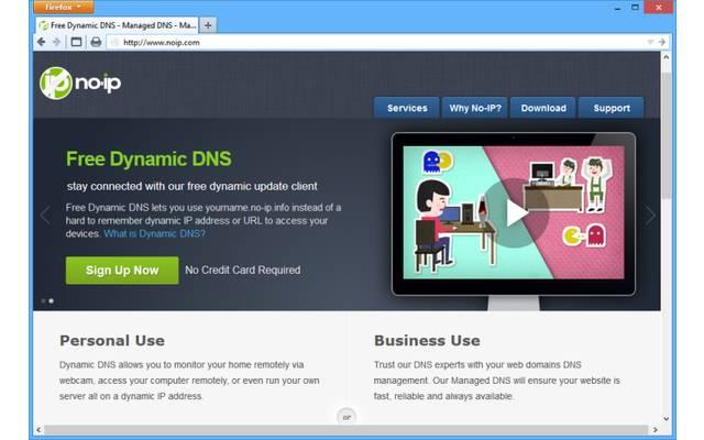 """NoIP.com: Der Dienst NoIP bietet kostenlos drei Subdomains unter dem Domainnamen """".no-ip.biz"""" an. Damit das Konto nicht deaktiviert wird, muss man die IP-Adresse mindestens alle 30 Tage aktualisieren."""