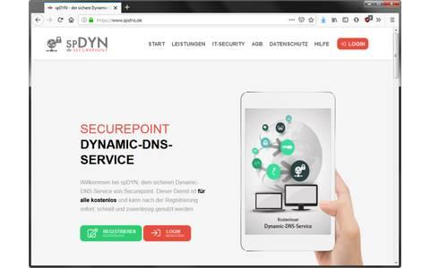 Securepoint: Der Dynamic DNS Service von Securepoint bietet kostenfrei fünf Subdomains an. Dafür stehen acht Domainnamen zur Auswahl.