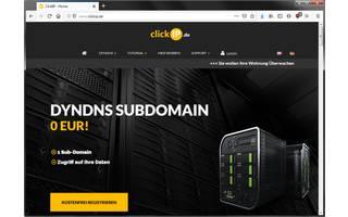 ClickIP ist ein kostenloser, werbefinanzierter DynDNS-Dienst mit Firmensitz in Deutschland. Der Dienst ermöglicht das Anlegen von Subdomains und bietet vorbildliche Tutorials für Fritzbox-Nutzer.