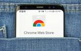 Google Chrome Web Store auf Smartphone-Screen