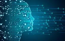 Menschlicher Kopf in Binär-Code
