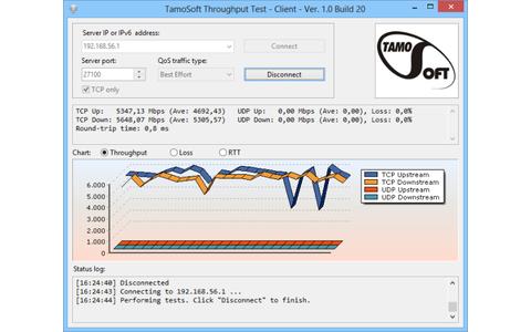 TamoSoft Throughput Test misst die Geschwindigkeit im lokalen Netzwerk oder WLAN.