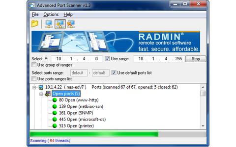 Advanced Port Scanner prüft, ob Computer in Ihrem Heimnetz offene Hintertüren haben