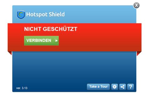 Hotspot Shield schützt Ihr Notebook in unverschlüsselten, öffentlichen WLAN-Hotspot.