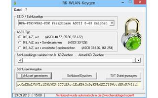 RK-WLAN-Keygen erzeugt sichere WLAN-Schlüssel mit bis zu 64 Buchstaben, Zahlen und Sonderzeichen.