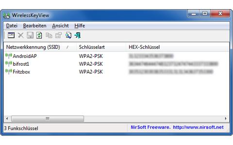 WirelessKeyView spürt  vergessene und verloren geglaubte WLAN-Schlüssel wieder auf.