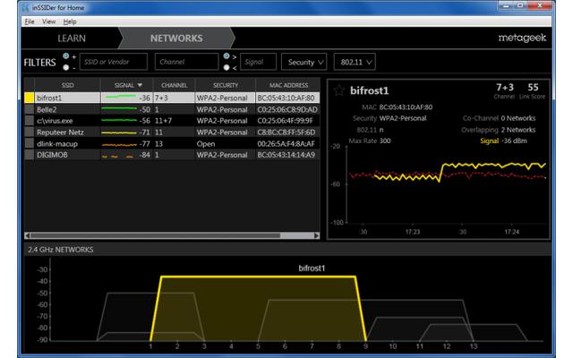 inSSIDer HOME hilft bei der WLAN-Optimierung, indem es Funknetze aufspürt, die Ihren WLAN-Empfang beeinträchtigen.