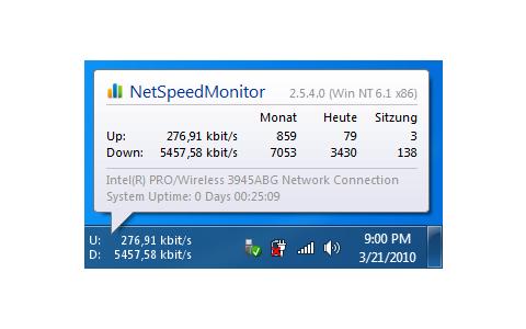 NetSpeedMonitor misst den Up- und Download-Traffic Ihres Netzwerks sowie dessen Geschwindigkeit.