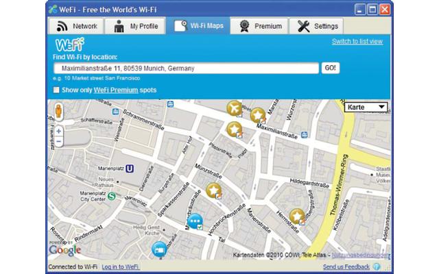 Wefi kennt Tausende WLAN-Hotspots und verbindet unterwegs Ihr Notebook automatisch mit öffentlichen Internet-Zugängen.