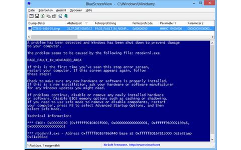 Bluescreen View zeigt die berüchtigten Windows-Bluescreens, die Windows 7 einfach überspringt und bei fatalen Fehlern durch einen Systemneustart ersetzt.