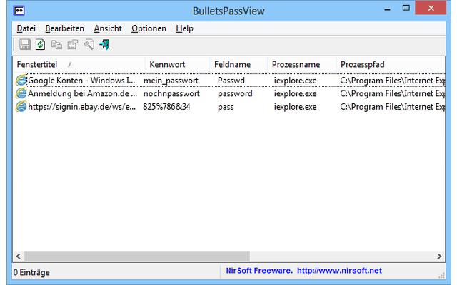 BulletsPassView macht Passwörter wieder lesbar, indem es die versteckten Zeichen hinter den sogenannten asterisk-Sternchen wieder sichtbar macht.
