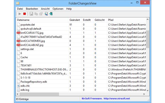 FolderChangesView läuft im Hintergrund und  überwacht von Ihnen vorgegebene Verzeichnisse Ihres PCs. Dabei dokumentiert das Tool alle Veränderungen an Dateien in diesen Ordnern.