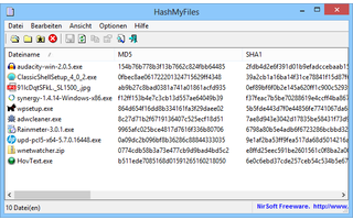 HashMyFiles berechnet MD5- und SHA1-Quersummen. Anhand dieser Quersummen, prüfen Sie beispielsweise, ob es sich bei Ihrem Download um eine 1-zu-1-Kopie der Originaldatei handelt.