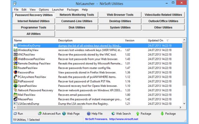 Nirlauncher ist eine Tool-Sammlung, die alle Programme des Entwicklers Nir Sofer enthält. Das Programm bündelt mehr als 150 Tools übersichtlich in zwölf Kategorien.