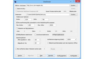 SiteShoter fotografiert beliebige Webseiten und speichert das Bild auf Ihrem PC. Das Besondere dabei: SiteShooter erstellt den Screenshot von der gesamten Webseite und nicht nur vom sichtbaren Ausschnitt.