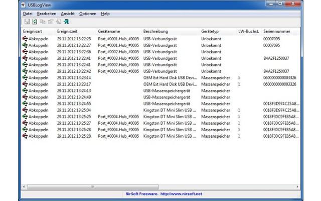 USBLogView protokolliert, welche USB-Geräte an Ihren PC angeschlossen oder davon entfernt werden. Dadurch lässt sich beispielsweise nachvollziehen, ob in Ihrer Abwesenheit USB-Sticks mit dem PC verbunden wurden.