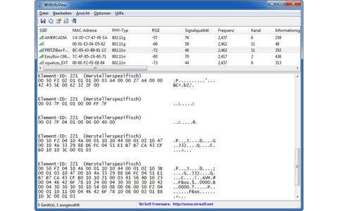 WifiInfoView sammelt Informationen über drahtlose Netzwerke in Ihrer unmittelbaren Umgebung und listet diese tabellarisch auf.