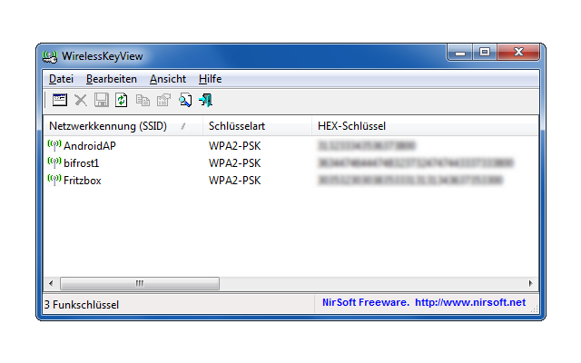 WirelessKeyView spürt verloren gegangene WLAN-Schlüssel wieder auf und löscht nicht mehr benötigte WLAN-Schlüssel aus der Windows-Registry.