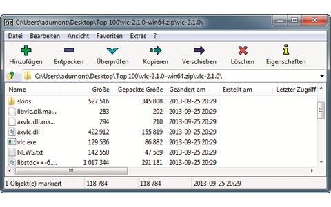 Platz 3 – 7-Zip: Im hauseigenen Format 7z sind die Kompressionsraten besser als bei anderen Packern wie Winzip und Winrar.