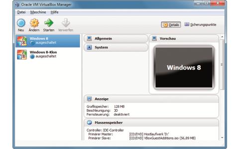 Platz 4 – VirtualBox: Auch Windows 8 lässt sich problemlos als virtuelles Betriebssystem nutzen