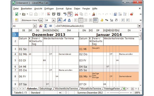 Platz 6 – LibreOffice: Die Tabellenkalkulation lässt sich auch als Kalender und Terminplaner verwenden.