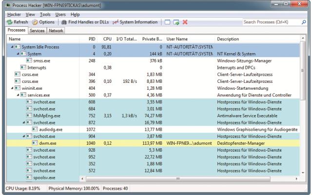 Platz 12 – Process Hacker: Das Tool liefert alle Informationen zu Diensten und Prozessen