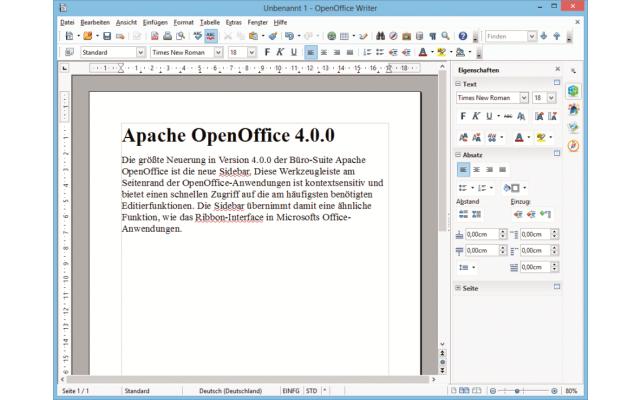 Platz 13 – Apache OpenOffice: Die Programme des Büropakets haben nun eine Sidebar mit häufi g benötigten Funktionen