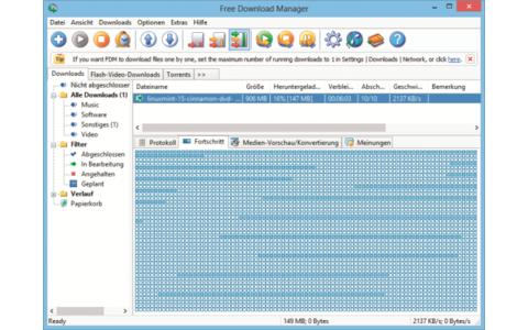 Platz 19 – Free Download Manager: Der Download-Manager nutzt mehrere Spiegel-Server und beschleunigt dadurch vor allem große Downloads