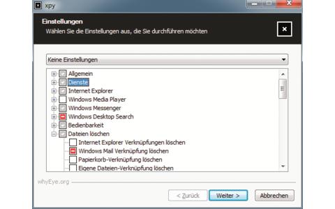Platz 24 – Xpy: Die Funktionen sind in übersichtlichen Kategorien wie Dienste, Internet Explorer, Windows Media Player oder Bedienbarkeit sortiert