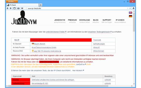 Anonymität im Internet prüfen