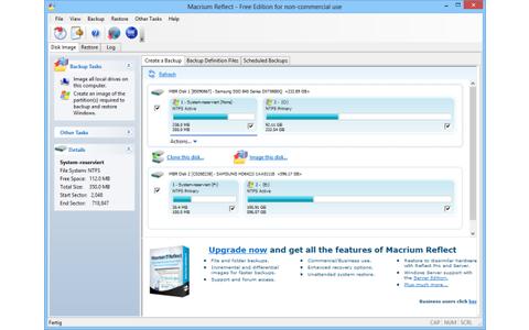 Macrium Reflect Free sichert die Daten ganzer Festplatten oder einzelner Partitionen und speichert sie als Image-Datei.