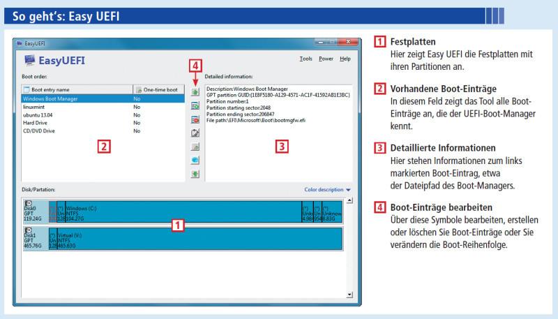 Boot-Menü bearbeiten mit Easy UEFI - com! professional