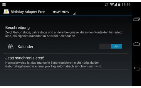 """Geburtstag vergessen? Oder gar den Hochzeitstag? Birthday Calendar Adapter macht Schluss mit derartigen Pannen. Die App übernimmt die """"besonderen Termine"""" aus Ihren Kontakten und trägt sie automatisch in Ihren Android-Kalender ein."""