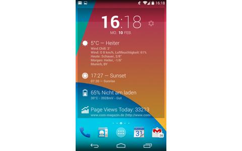 DashClock Widget zeigt Informationen wie das aktuelle Wetter, verpasste Anrufe und SMS oder anstehende Kalender-Termine auf dem Android-Lockscreen oder als Desktop-Widget.