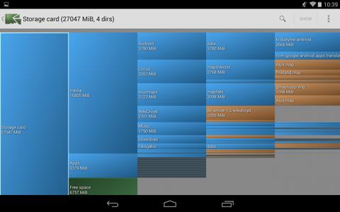 DiskUsage zeigt, welche Ordner und Dateien auf Ihrem Android-Smartphone am meisten Speicherplatz einnehmen.