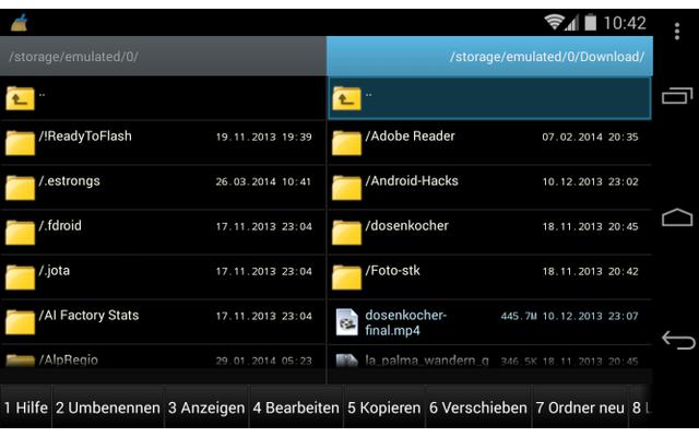 Ghost Commander ist ein Zweifenster-Dateimanager für Android-Geräte. Die App lässt sich über Plug-Ins für Google Drive, Dropbox, SFTP und SMB den eigenen Bedürfnissen anpassen.