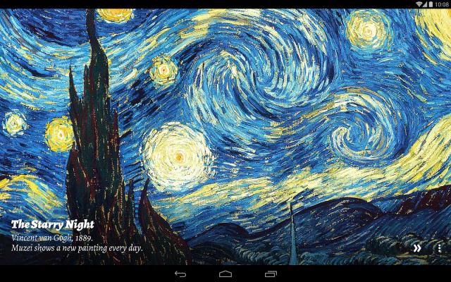 Muzei präsentiert Ihnen jeden Tag ein neues Kunstwerk auf Ihrem Smartphone. Die Bilder erscheinen zunächst mit einem Unschärfe-Effekt, damit sich Widgets und Icons weiterhin gut erkennen lassen.