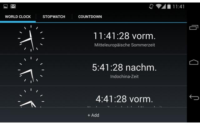 Timer kennt drei Betriebsmodi: Die App arbeitet als Stopuhr, als Countdown-Timer mit akustischem Signal und bietet zudem eine Weltuhr-Anzeige.