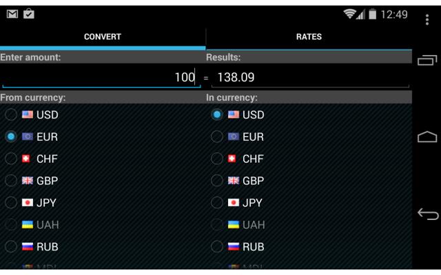 Der nanoConverter ist ein hervorragender Wechselkursrechner mit minimalen App-Berechtigungen. Die Wechselkurse bezieht die App von der Europäischen Zentralbank oder anderen Internet-Quellen.