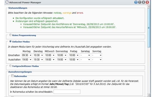 Advanced Power Manager für Synology - Das Tool arbeitet wie eine Zeitschaltuhr für Ihren Synology-NAS. Damit legen Sie genau fest, wann ihr Netzspeicher hoch- und herunterfährt.
