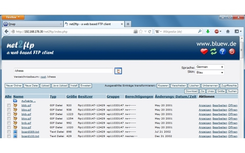 Net2FTP für Qnap - Der webbasierte FTP-Client läuft auf dem Qnap-NAS und ermöglicht per Webbrowser den Zugriff auf Ihren FTP-Server.