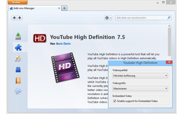 Die Firefox-Erweiterung YouTube High Definition lässt sich so konfigurieren, dass Youtube-Videos stets in der bestmöglichen Video-Auflösung starten.