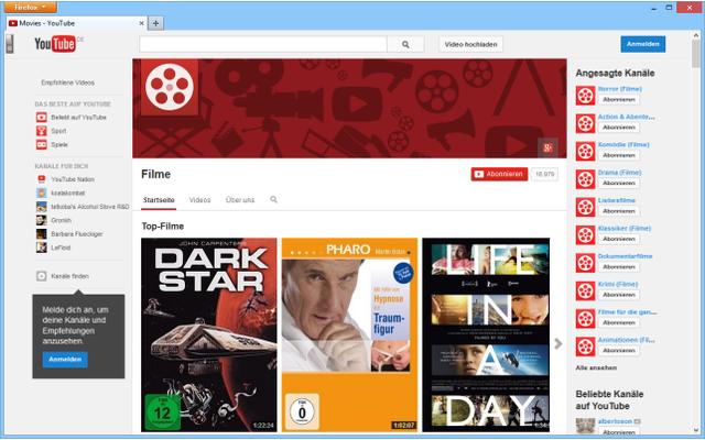 """Der Youtube-Kanal """"Movies"""" ist eine Art virtuelle Videothek, in der alle legalen Filmangebote des Video-Portals gesammelt werden."""