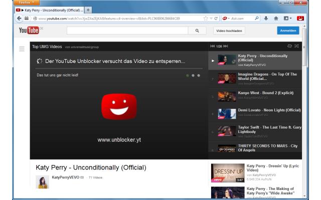 Youtube-Musikvideos sind in Deutschland oft gesperrt. Die kostenlose Firefox-Erweiterung Youtube Unblocker umgeht derartige Youtube-Sperren mit Hilfe ausländischer Proxy-Server.