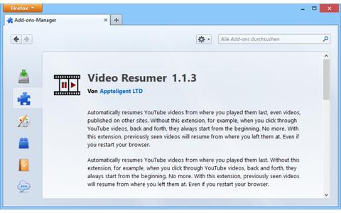 Video Resumer merkt sich, an welcher Stelle Sie ein Youtube-Video abgebrochen haben und beginnt beim erneuten Aufruf des Videos an der gespeicherten Stelle.